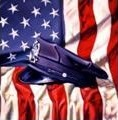 Police Officer Hat on American Flag