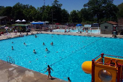 A large public swimming pool in a city park