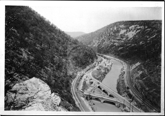 Narrows View Showing U.S. 40 B&O Railroad and Western Maryland Railroad