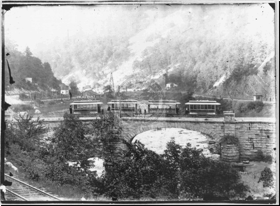 Street Cars on Old Stone Bridge